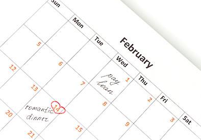スケジュールが書かれたカレンダー