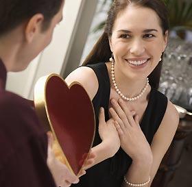 恋人からプレゼントを受け取る女性