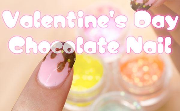 かわいすぎて反則★バレンタインのとろけるチョコレート柄ネイル