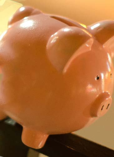 夕日と豚の貯金箱
