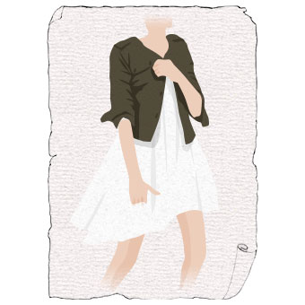 ミリタリージャケット×白スカート