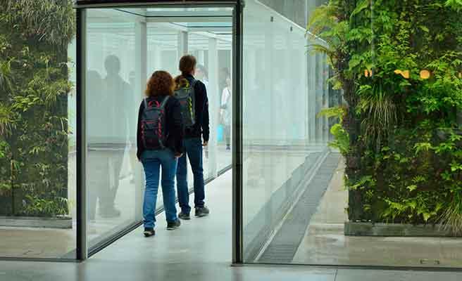 美術館の中に入っていくカップル