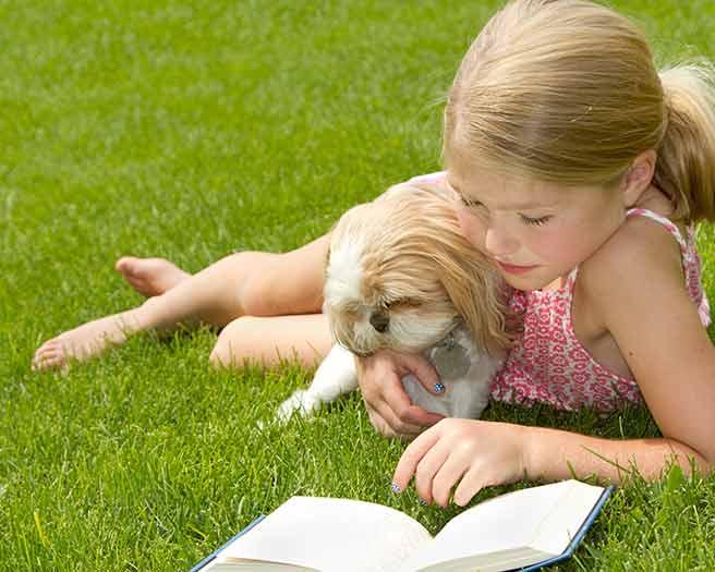 犬と一緒に本を読む一人っ子