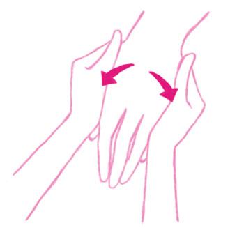 手の甲を両手で包み、内から外側へ両手の親指を5回滑らせましょう