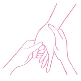 親指の付け根から指先にかけて、親指の腹でよい力で引っ張りましょう