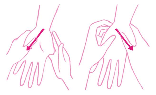 手の平の手首側から、両手で×を描くように親指を10回程度滑らせます