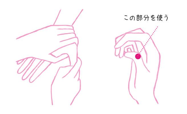 親指の腹を、親指の第一関節でグリグリ10回ほど押したあと、彼氏の親指の腹を4秒押し続けましょう。