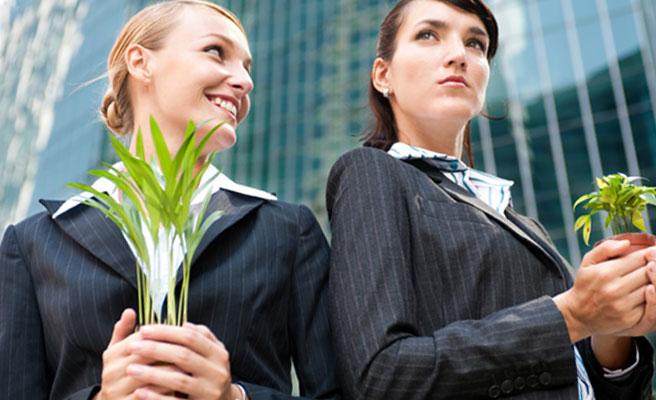 苗木の長さを比較する女性たち