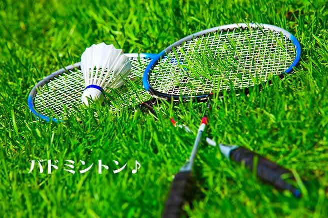 バドミントンのラケットと羽根