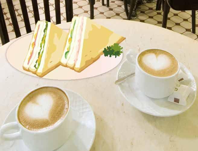 コーヒーとサンドイッチ