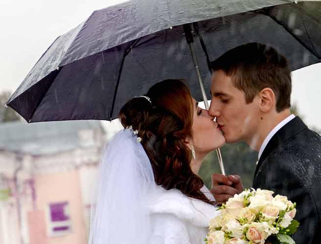 雨降りの中、相合傘の新郎新婦