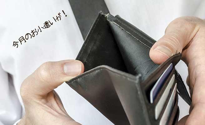 空の財布の中を見るネクタイ姿の男性
