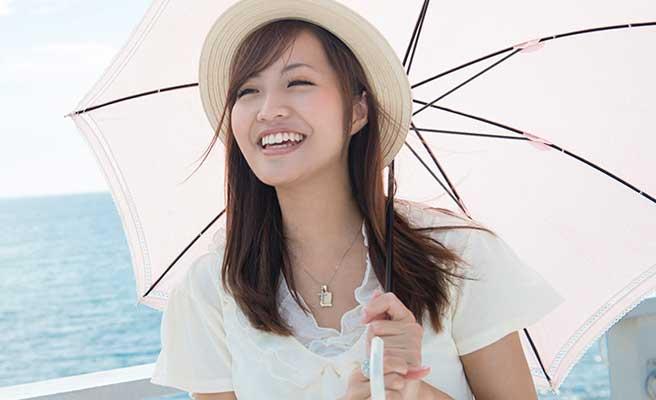 海辺で帽子と日傘をさす女性