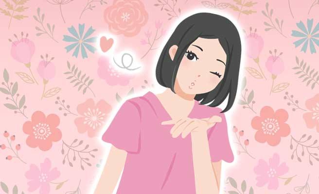 花の中にハートを口で吹き飛ばす女子