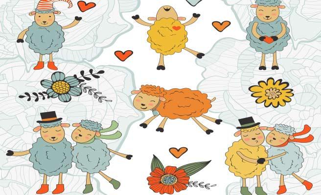 花と羊のカップル