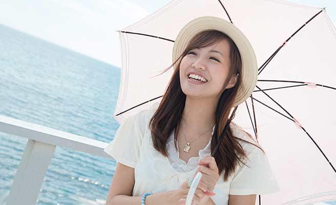 海辺で帽子を被って日傘をさす女性
