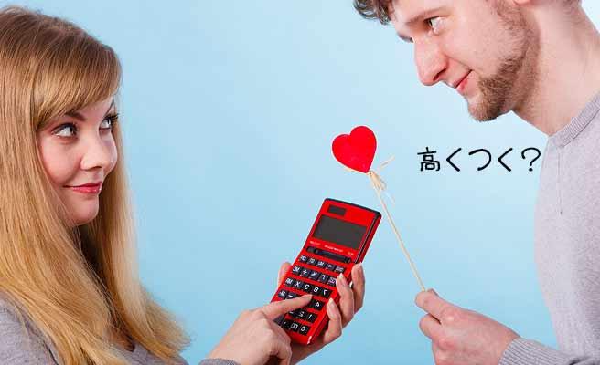 男性の持つハートに対して計算機を指で押す女性