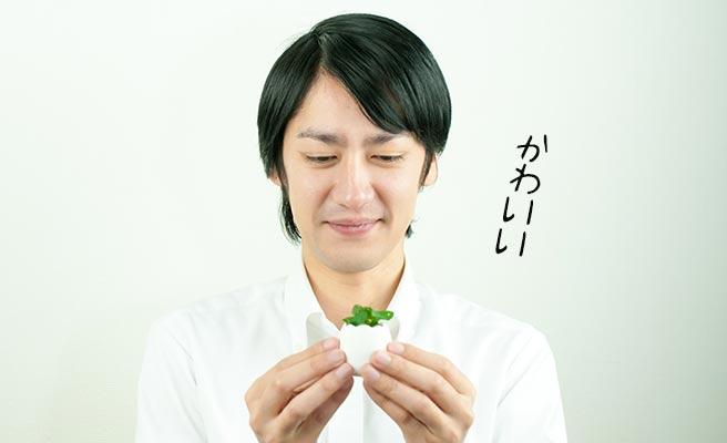 ミニ鉢植えを笑顔で見つめる男性
