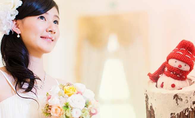 花嫁と雪だるま