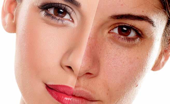 化粧した顔の半分と化粧しない顔の肌
