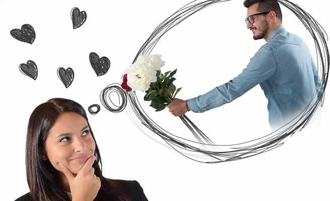 花束を贈る男性を想像する女性