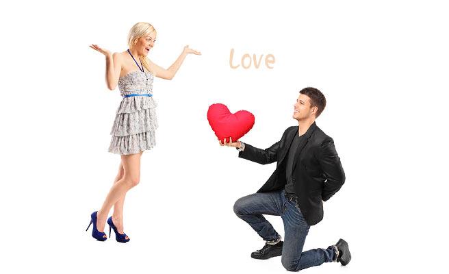 女性に愛を告白する男性