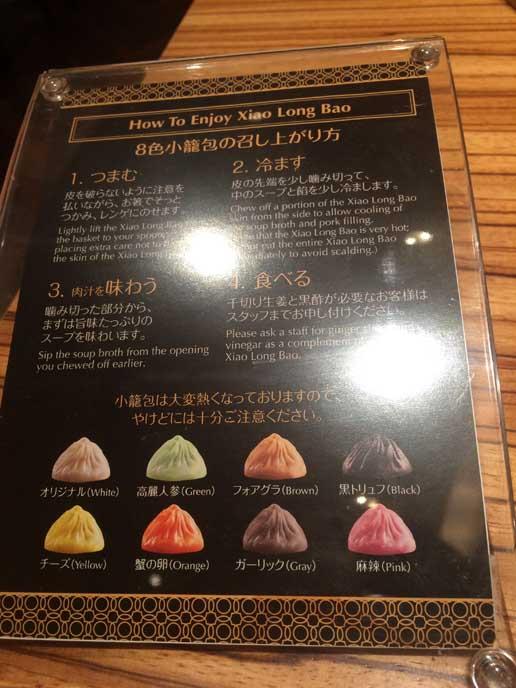 各種小籠包の味が紹介されたメニュー