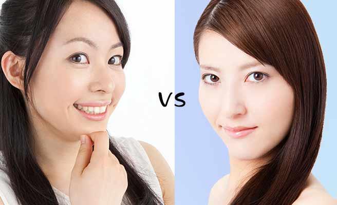 可愛い女子とクールな美人の対比