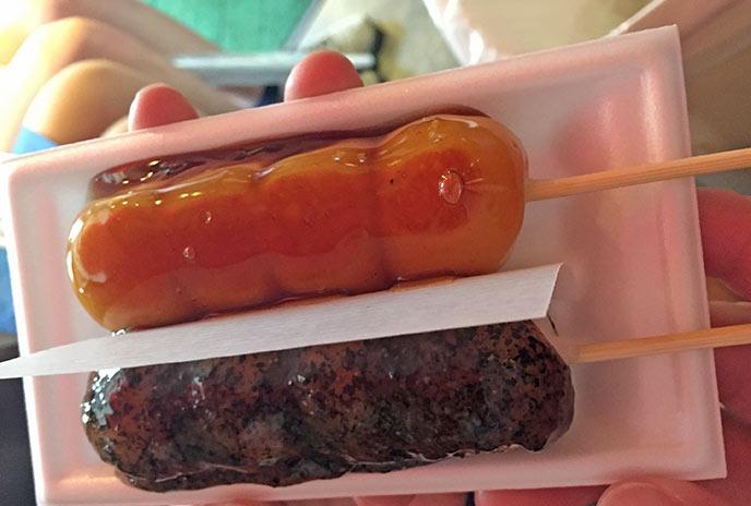 夢見屋のごまみたらしと黒蜜みたらし団子(3<)食べやすいサイズが丁度いい