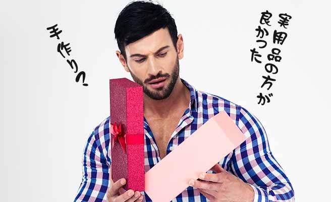 プレゼントを開けてがっかりする男性