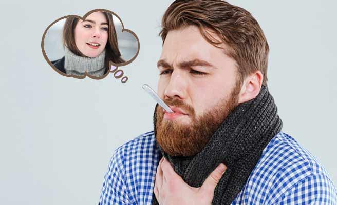 体温計を咥えながら彼女のことを思う男性