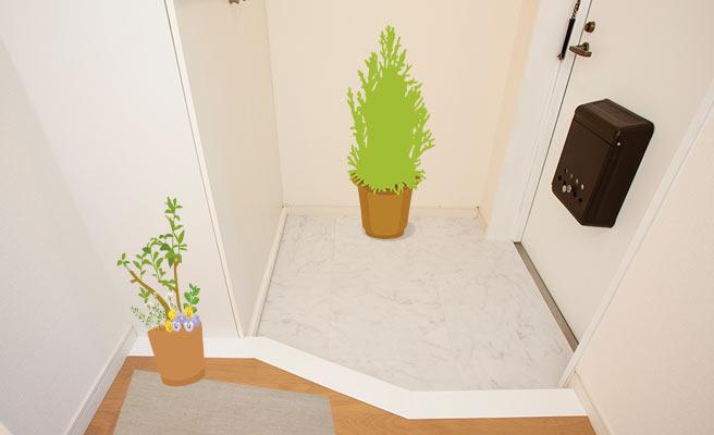 観葉植物が置かれた玄関
