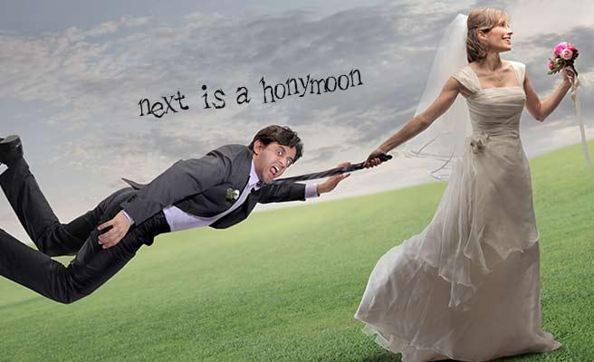 花嫁に引っ張られる新郎