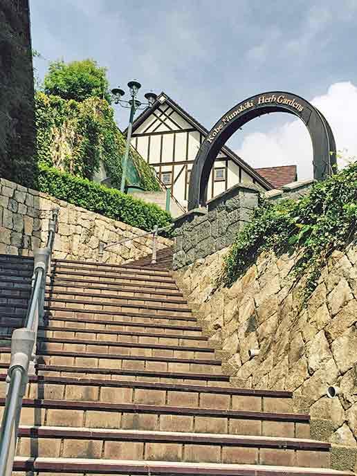 園内の石垣のある階段。異国の雰囲気があったとても素敵です♪