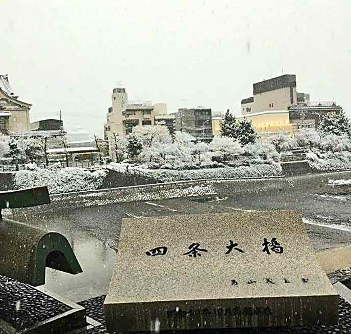 鴨川も雪化粧で冬の京都の景色を楽しめます♪