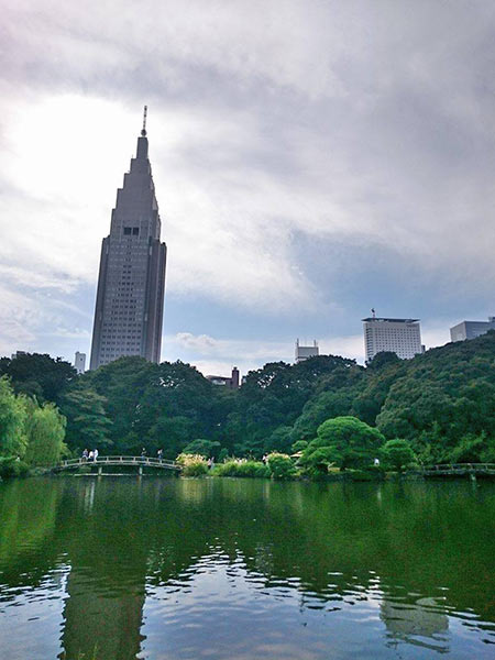 園内にある池と緑の向こうに高層ビル