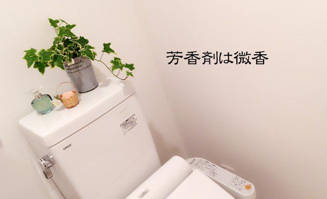 緑と芳香剤のあるトイレ