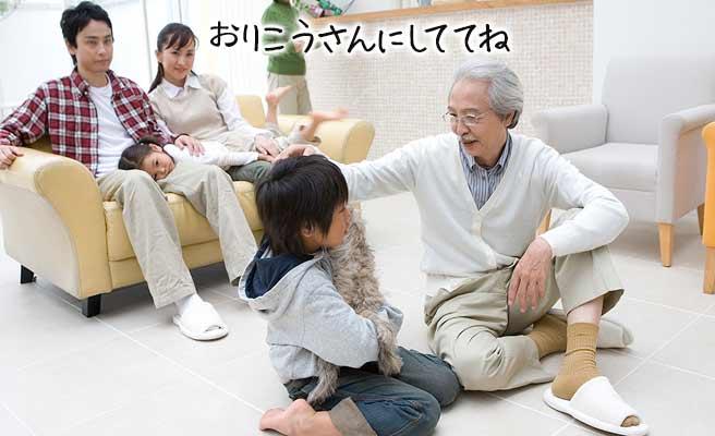 義理の父と遊ぶ子供を見守る母親