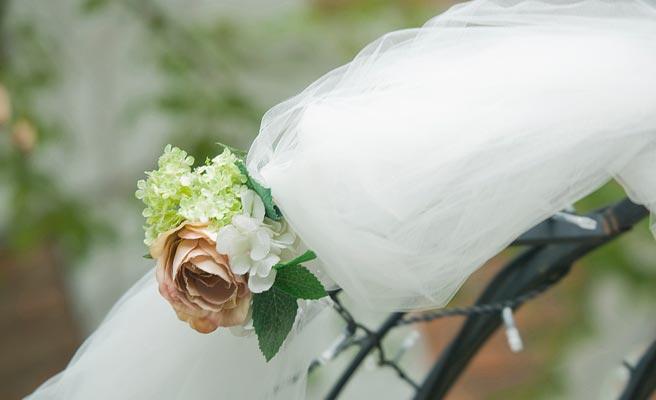 布と花の組み合わせ