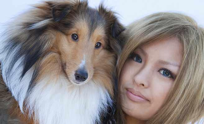 ペットの犬に寄り添う女性