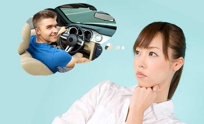 外車の高級車に乗った男性を想像する女性