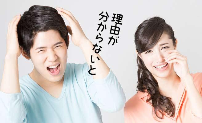 泣く女性と頭を抱える男性