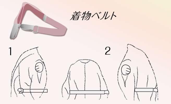 着物ベルトで衿を合わせる