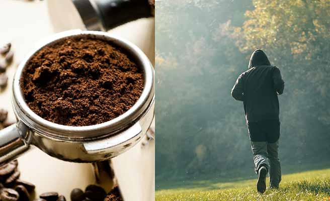 早朝の公園をジョギングする男性とコーヒー粉