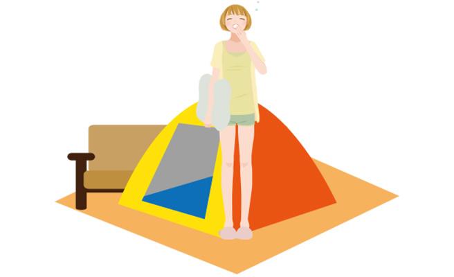 室内でテントを張る