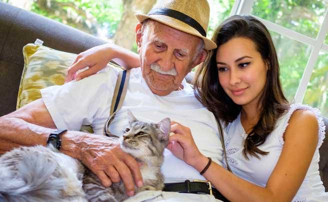 高齢男性と若い女性のカップル
