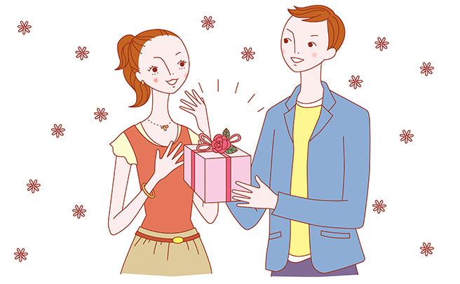 彼女にプレゼントを渡す彼氏のイラスト
