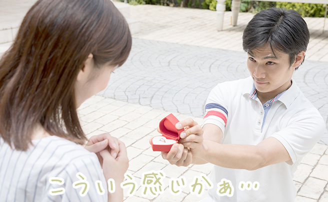 女性に指輪を差し出してプロポーズする男性
