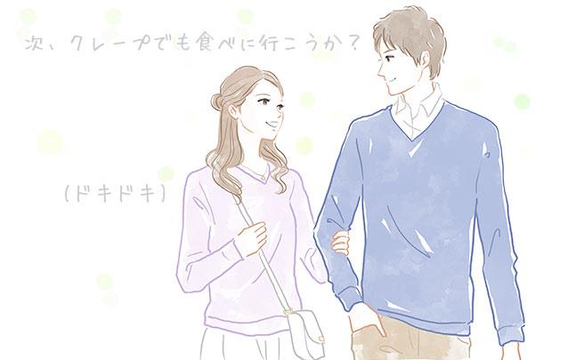歩くカップルのイラスト