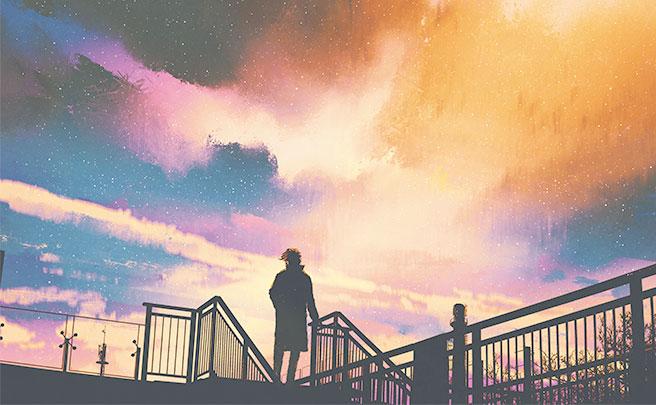 芸術的な空と男の人